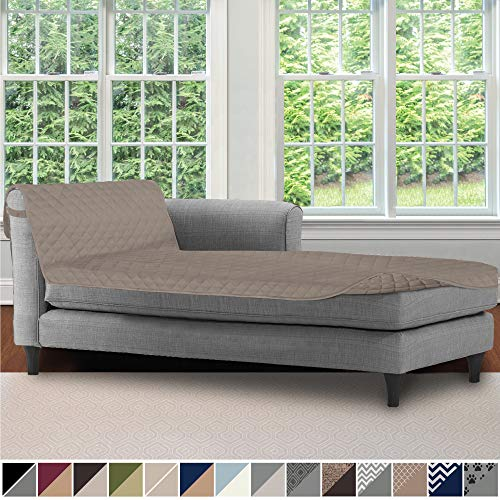 Sofa Shield Original Patent Pending Reversible Sofa Chaise Protector, 102x34 Inch, Washable Furniture Protector, 2 Inch Strap, Chaise Lounge Slip Cover for Pets, Dogs, Kids, Cats, Light Taupe