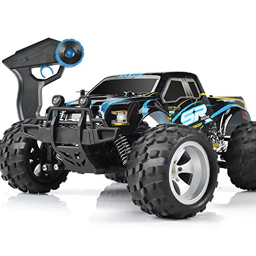 DOUBLE E RC Cars High Speed Remote Control Car for Kids Boys Adults 1:18 Scale 4WD Off Road Monster Trucks with 800mah Rechargeable Battery, 2.4Ghz Racing Cars with Two Batteries
