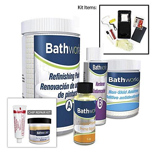 BATHWORKS DIY Combo Kit - WHITE - Chip Repair & Bathtub Refinishing; Non-Slip Protection; Tub; Tile; Shower; Wall Surround; Chip Filler; Crack Repair; Quick 24 hour dry time; High Gloss Resin Finish