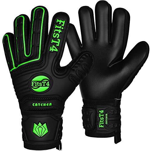 FitsT4 Goalie Goalkeeper Gloves with Fingersaves & Super Grip Palms Soccer Goalkeeper Gloves for Youth, Adult Green 7