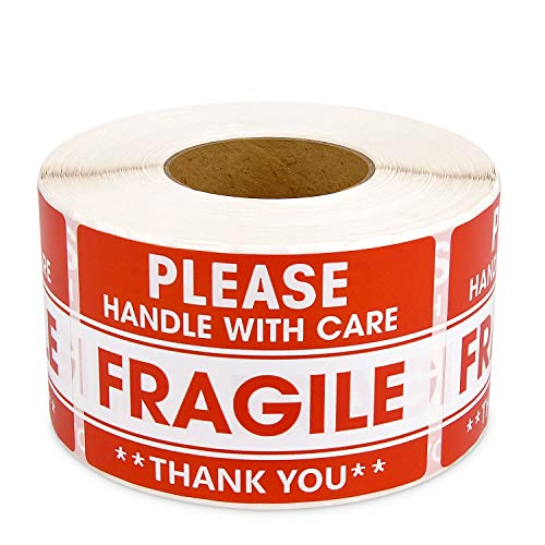 Methdic 2'x 3' Strong Adhesive Fragile Stickers 1 Roll 500 (Handle with Care,Do Not Drop,Thank You) Labels for Shipping and Moving