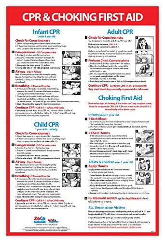 CPR and Choking Poster - Choking Poster for Restaurant - Choking First Aid Poster - CPR Instructions - CPR Wall Chart - CPR Poster Laminated, 12 x 18 Inches (1)