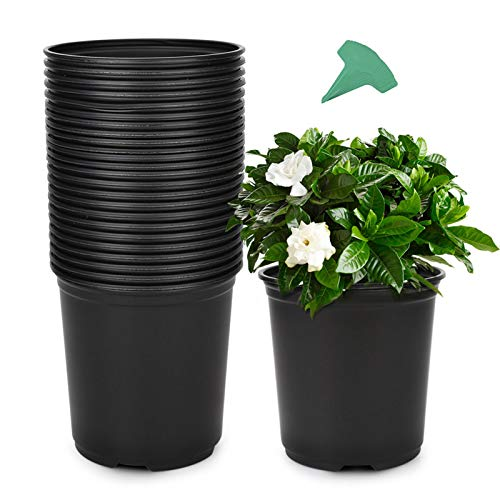 GROWNEER 24 Packs 0.7 Gallon Flexible Nursery Pot Flower Pots with 15 Pcs Plant Labels, Plastic Plant Container Perfect for Indoor Outdoor Plants, Seedlings, Vegetables, Succulents and Cuttings 2.5Qt