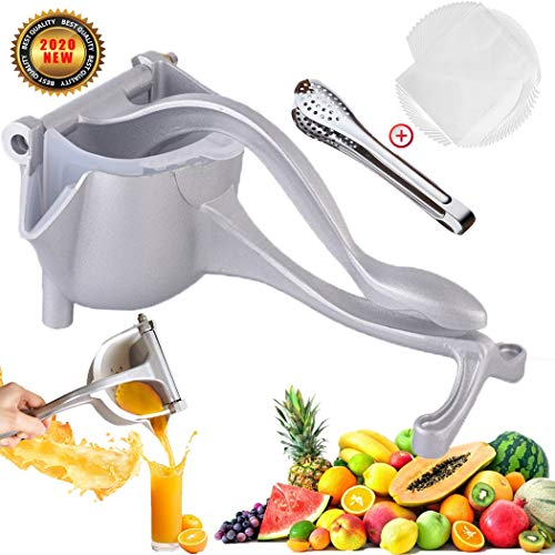 CAYOREPO Stainless Steel Fruit Juicer with 20 Pcs Filter Bags and Fruit Clip, Orange Juicer Quality Alloy Hand Fruit Juicer Squeezer, Fruit Citrus Extractor Tool