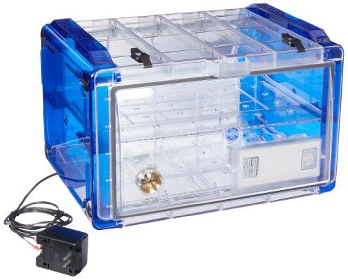 Bel-Art Secador Clear 4.0 Horizontal Auto-Desiccator Cabinet with Blue End-Caps; 120V, 1.9 cu. ft. (F42074-0116)