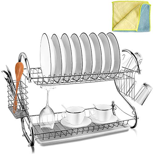 2-Tier Dish Drying Rack Chrome Plated with Drain Board Dish Drying Rack Storage Organizer with Utensil Cutlery Holder Cleaning Cloth for Kitchen Countertop