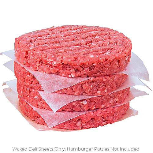 Restaurant-Grade Hamburger Patty Paper 1000 Pack - HAMBURGER MEAT NOT INCL. Non-Stick, Waxed Food-Grade Deli Squares 4.75 x 5in. Microwave and Freezer Safe For Ground Beef, Turkey and Burger Patties