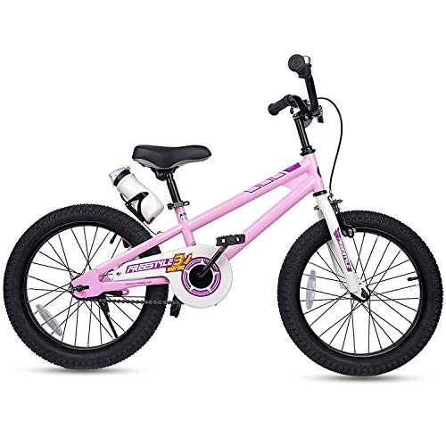 RoyalBaby Kids Bike Boys Girls Freestyle BMX Bicycle With Kickstand Gifts for Children Bikes 18 Inch Pink