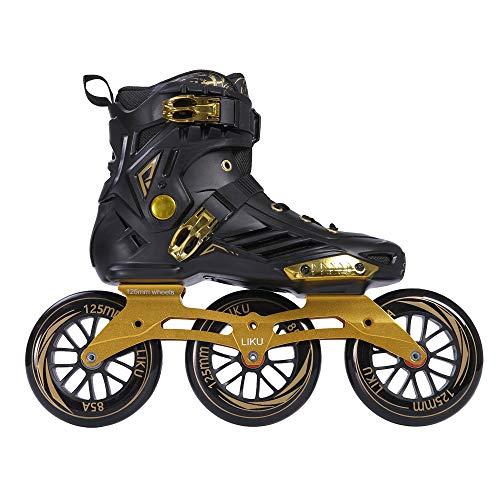 LIKU Performance 125 3WD Speed Inline Skates Black&Gold Racing Skate for Men and Women