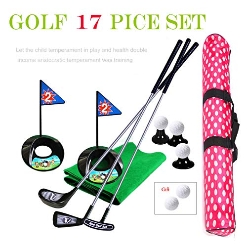 Golf Pro Set Toy for Kids Toddlers Meatl Golf Clubs Flags Practice Balls Sports Indoor Game Golf 24 inch Training 17 PCS w/Waterproof Backpack