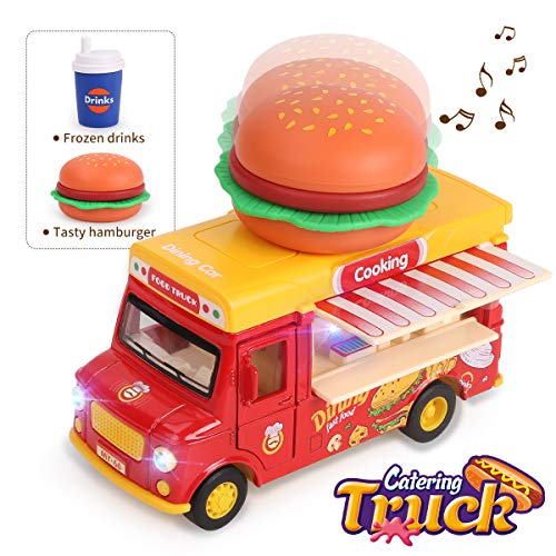 REMOKING Car Toy, Stem Alloy Dining Pull-Back Magnetic Induction Car, 1:36 Scale Die-cast Food Truck Creative Decoration Model with Sounds and Lights, Great Gifts for Children and Adults