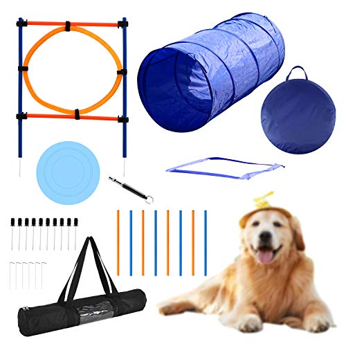 YON.SOU. Dog Agility Training Equipment, Obstacle Course Training, Pet Toy for Speed & Jumps (with Dog Agility rods Jump& Hoops, Agility Tunnel Frisbee Training Whistle, Carrying Bag) Blue