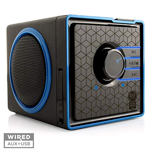 GOgroove SonaVERSE BX Portable Speaker with USB Music Player - Cube Speaker with USB Flash Drive MP3 Input, 3.5mm AUX Port, Playback Controls, Rechargeable Removable Battery (Wired, Blue)