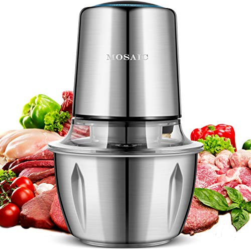 Electric Food Chopper, MOSAIC 400W Mini Food Processor with Titanium Coating Blades and 1.5L Stainless Steel Bowl, 2 Speed Kitchen Meat Grinder Mincer for Fruit Cheese Nuts - Upgrade Version