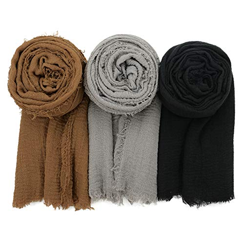 Womens Fashion Scarf Lightweight Head Wrap Soft Head Scarf Long Shawl Scarfs for All Season (One Size, C Yellow/Grey/Black)