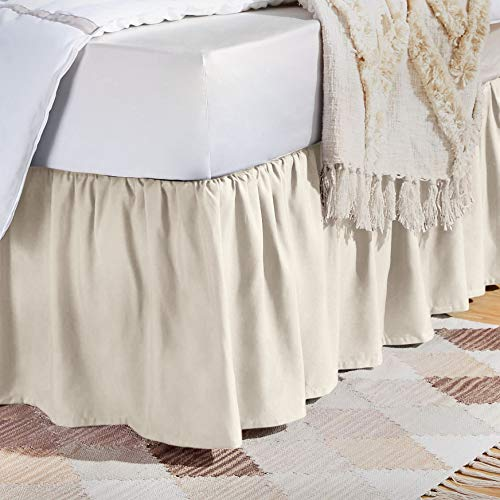 AmazonBasics Ruffled Bed Skirt - Queen, Off White
