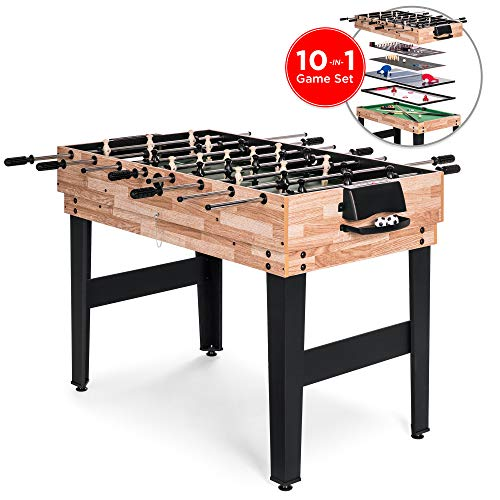 Best Choice Products 2x4ft 10-in-1 Combo Game Table Set w/Pool, Foosball, Ping Pong, Hockey, Bowling, Chess, and More