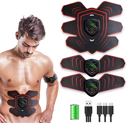 Abs Stimulator Muscle Stimulator, Protable Ab Trainer Muscle Toner Electric Abs Belt Workout Equipment Slendertone Ab Machine Workout Gear for Men Women, Free Gel Pads