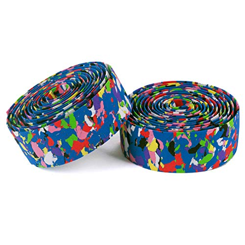 Vinqliq New Super Soft Bike Bicycle Cycling Handlebar Grip Tape Wraps Adhesive Back with Bar Plugs (Multi-Color)