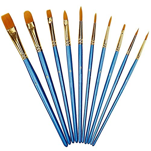 Xubox Paintbrush Set, 10 Pieces Round Pointed Tip Nylon Hair Artist Detail Paint Brushes Set, Professional Fine Acrylic Oil Watercolor Brushes for Face Nail Body Art Craft, Miniature Painting, Blue