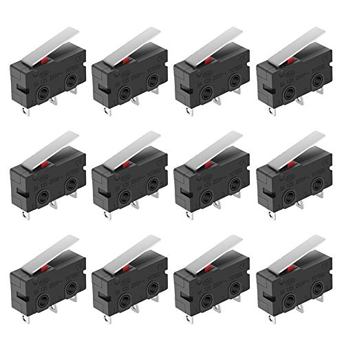 MXRS SPDT 1NO 1NC Hinge Lever Momentary Push Button Micro Limit Switch AC 5A 125V 250V 3 Pins 12 Pcs