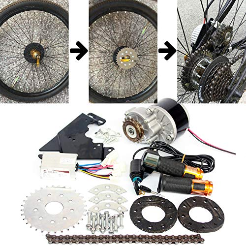 L-faster 250W Electric Conversion Kit for Common Bike Left Chain Drive Customized for Electric Geared Bicycle Derailleur(Twist Kit)