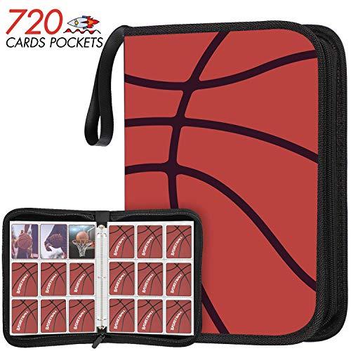 KITOYZ 720 Pockets Basketball Binder Sleeves, Carrying Case with Basketball Card Sleeves Card Holder Album Protectors Set for Football Baseball and Sports Card