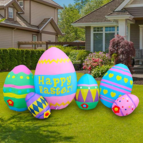 Cost4less 8ft Long Inflatable Easter Party Cute Colorful Seven Easter Eggs Fun Holiday Indoor Outdoor Yard Blow Up Decoration
