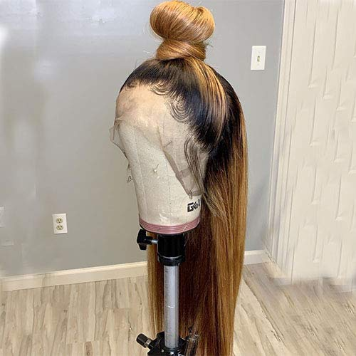 1B/27 Ombre Color Lace Front Wigs Human Hair for Black Women Bleached Knots Straight Brazilian Remy Hair Wigs With Baby Hairs Pre Plucked (20)
