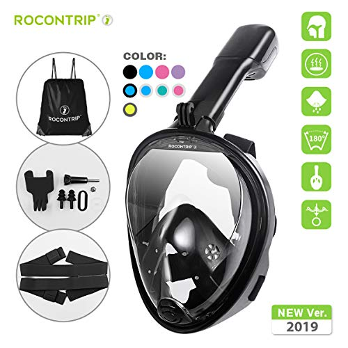 ROCONTRIP Full Face Snorkel Mask, Free Breathing 180° Panoramic View Diving Mask, Anti-Fog Anti-Leak and Adjustable Head Strap Snorkeling Mask for Men Women Adult (Black, Small-Medium)