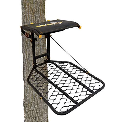 Muddy The Boss Hang-On Treestand- Silent Straps, Flex-Tek Comfort Seating, Extra Wide Platform, Black (MUD-MFP1080)