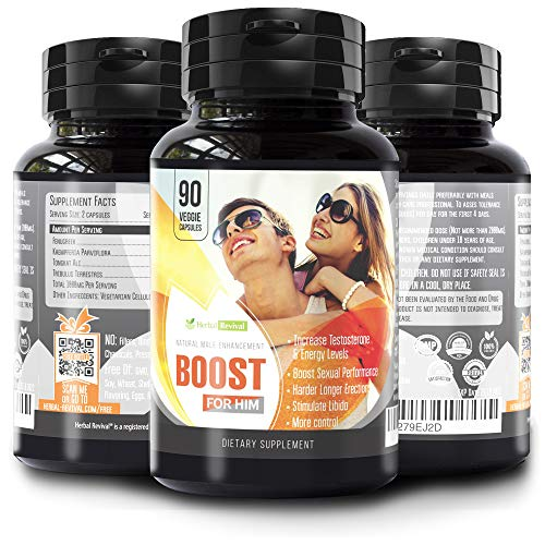 Boost for Him Ultimate Enhancing Pills - Enlargement Formula Promotes Size Increase 2+ inches in 60 days, 90 Veg Capsules, Strength, Energy, Stamina. All Natural Last Longer Performance Booster