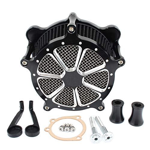 Black Air Cleaner Intake Filter Venturi Cut For Touring Road King 93-2007 Dyna FXR Street Glide Electra Glide Road Glide Softail FXST FXSB FXDL