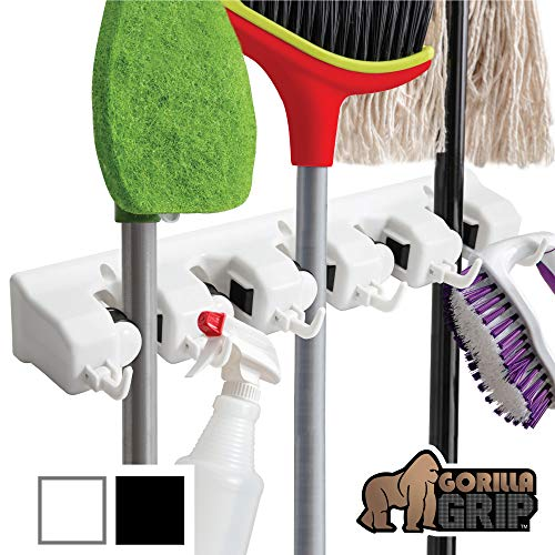 Gorilla Grip Mop and Broom Holder, 5 Auto Adjust Slots, 6 Hooks, Holds Up to 50 Lbs, Easy Install Wall Mount, Store Cleaning and Gardening Tools, Organize Kitchen, Garage, Closet, Storage Rooms, White