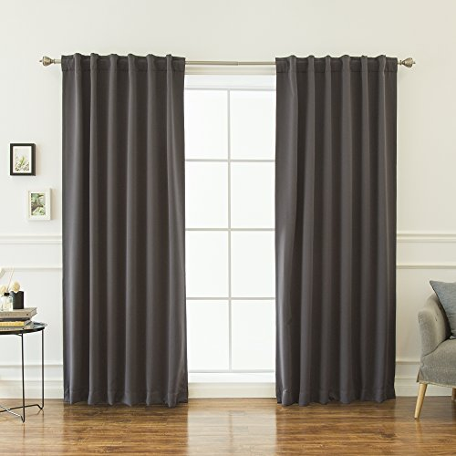 Best Home Fashion Thermal Insulated Blackout Curtains - Back Tab/Rod Pocket - 52' W x 84' L - Dark Grey (Set of 2 Panels)