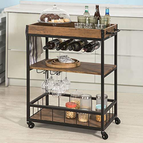 Haotian Bar Serving Cart Home Myra Rustic Mobile Kitchen Serving cart,Industrial Vintage Style Wood Metal Serving Trolley (FKW56-N)