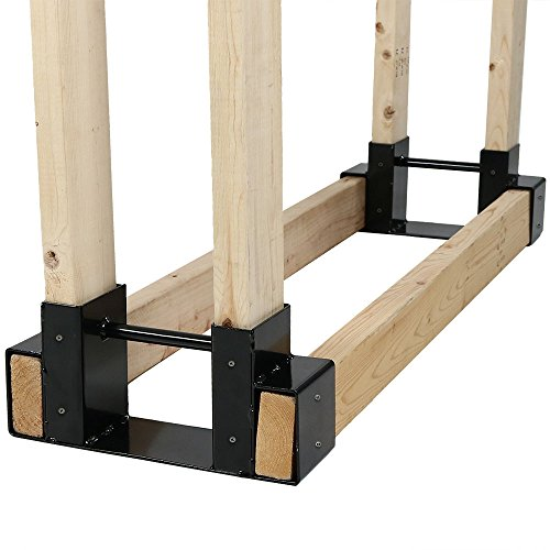 Sunnydaze Outdoor and Indoor Firewood Log Rack Bracket Kit - Black Powder-Coated Steel Fireplace Fire Pit Wood Storage Holder Accessory - Adjustable to Any Length