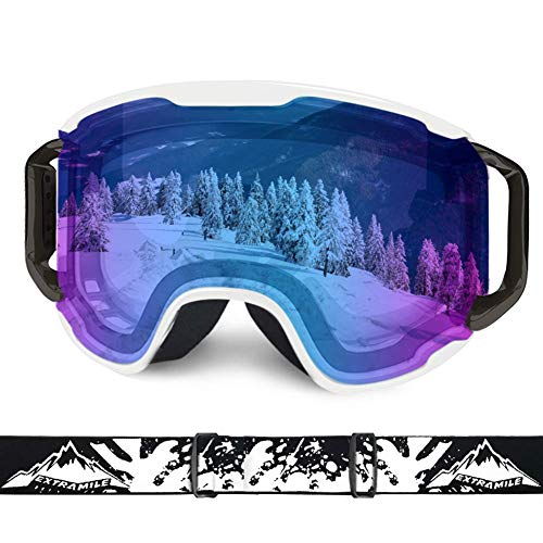 Extra Mile Ski Goggles, OTG Over Glasses Snow Sports Goggles Snowboard Snowmobile Skate Motorcycle Riding, Dustproof Scratch Resistant, Double Anti Fog UV400 Helmet Compatible Men Women Youth Unisex