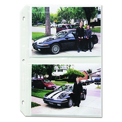 C-Line Clear Photo Pages for Four 5 x 7 Photos, 3-Hole Punched, 11-1/4' x 8-1/8' Sheets, Box of 50 (52572)