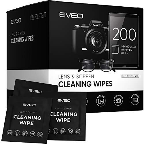 Lens Wipes - Eye Glasses Cleaning Wipe, Eyeglass Cleaner, Screen Wipes, Eyeglass Wipes, Lens Cleaning Wipes with Alcohol - Glasses Wipes pre-moistened, Pack of 200