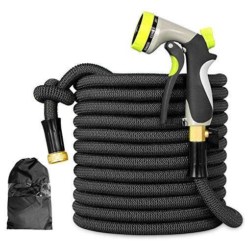 Expandable Garden Hose - 50ft Lightweight Flexible pocket Water Hose with 3/4' Heavy Duty Brass Connectors & Shut Off Valve - Extra Strength Fabric Cover with 8 Function Zinc Alloy Spray Nozzle