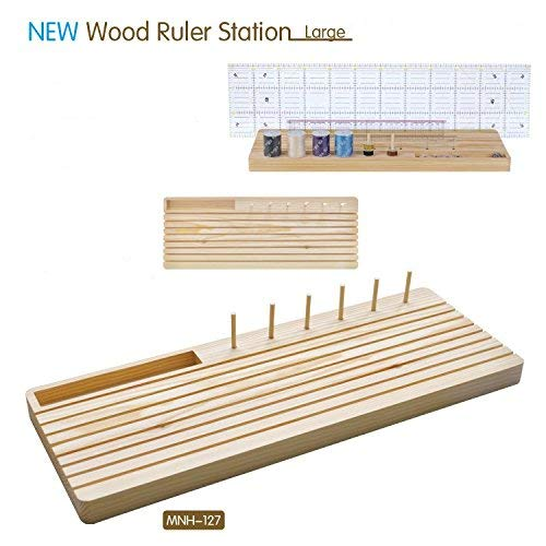 Quilting Wooden Ruler Rack with Spool Holder and Space to Store Pins Tacks Bobbins (7'' x19'')