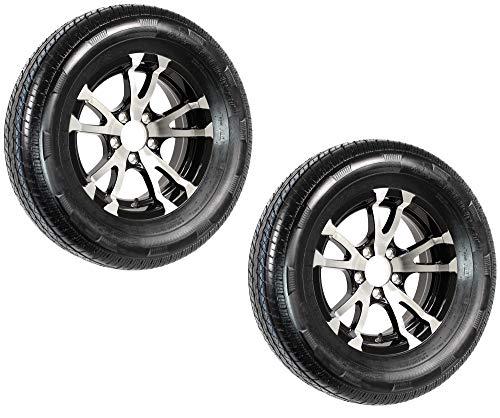 2-Pk Radial Trailer Tire Rim ST205/75R15 Load C 5 Lug Aluminum T07 Black Wheel
