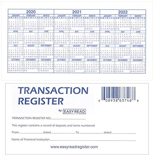 12 Check registers for Personal Checkbook - Checkbook Ledger Transaction Registers Log for Personal or Business Bank Checking Account, Saving Account, Deposit, Credit Card, and Large Booklet