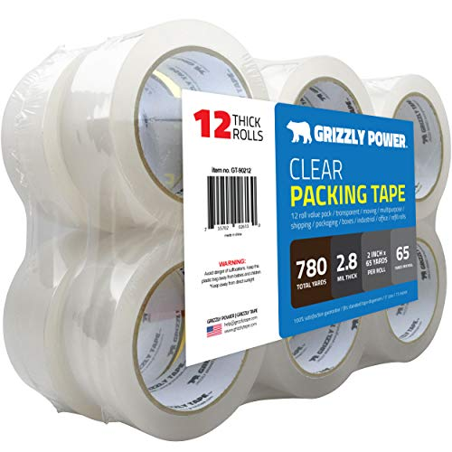 Grizzly Brand Clear Packing Tape Refill Rolls for Shipping, Moving, Packaging - True 2 inch x 65 Yards, 2.8mil Thick, 12 Rolls