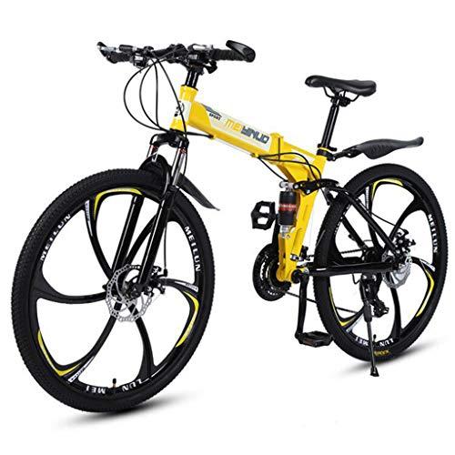 26 Inch Lightweight Folding Bike,Adult Mountain Bikes,Dual Disc Brakes Mountain Bicycle,Dual Suspension MTB Bikes,Mountain Trail Bike Urban Track Bike Non-Slip Bike (Yellow)