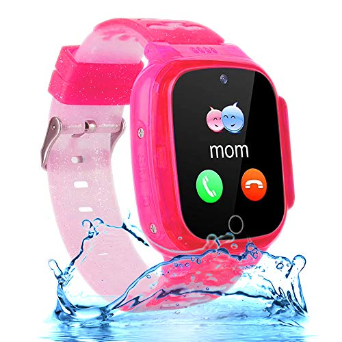 Kids Waterproof Smartwatch Phone Girls Boys with LBS Tracker Two-Way Call SOS 1.44' HD Touch Screen Camera Voice Chat Game Flashlight Alarm Clock Cellphone Wrist Gizmo Watch Toys Gifts (Crystal Pink)