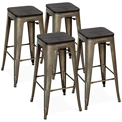 Best Choice Products Set of 4 30in Industrial Stackable Backless Counter Height Steel Bar Stools w/Wood Seats - Bronze
