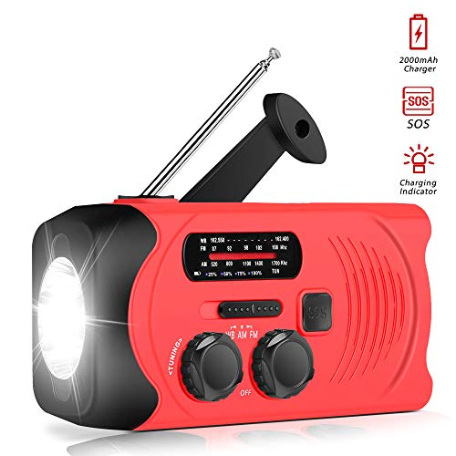 [Upgraded Version] RunningSnail Emergency Weather AM/FM NOAA Solar Powered Wind up Radio with SOS, 2000mAh Power Bank for Cell Phone and LED Flashlight (Red)
