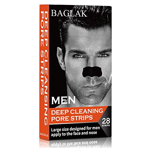 BAGLAK Blackhead Remover Pore Strips, 28 Men Charcoal Nose Strips for Blackhead Removal Oily Skin